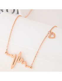 Exquisite Rose Gold Electrocardiogram Shape Pendant Decorated Simple Necklace