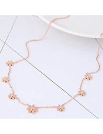 Exquisite Rose Gold Seven Flowers Pendant Decorated Simple Necklace