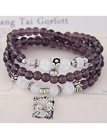 Fashion Purple Lovers Pendant Decorated Multilayer Beads Bracelet