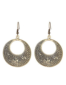 Fashion Gold Color Flower Pattern Decorated Hollow Out Design Simple Earrings