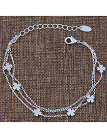 Sweet Silver Color Flower Pendant Decorated Multi-layer Pure Color Bracelet