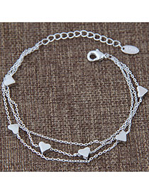 Sweet Silver Color Heart Pendant Decorated Multi-layer Pure Color Bracelet