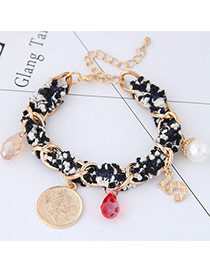 Sweet Multi-color Letter&round Shape Pendant Decorated Color Matching Bracelet