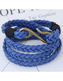 Fashion Dark Blue Irregular Shape Decorated Multi-layer Color Matching Bracelet
