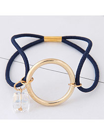 Elegant Navy Round Shape Pendant Decorated Color Matching Hair Band