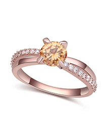 Fashion Champagne+rose Gold Round Shape Diamond Decorated Hollow Out Design Ring
