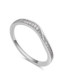 Fashion Silver Color Diamond Decorated Irregular Shape Design Simple Ring