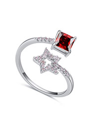 Fashion Garnet Star&square Shape Diamond Decorated Opening Ring