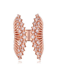 Fashion Rose Gold Round Shape Diamond Decorated Wings Shape Hollow Out Ring