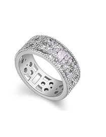 Fashion Silver Color Geometric Shape Diamond Decorated Hollow Out Design Ring