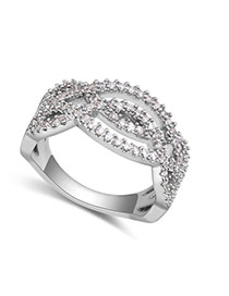 Fashion Silver Color Round Shape Diamond Decorated Hollow Out Design Ring