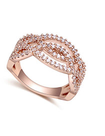 Fashion Rose Gold Round Shape Diamond Decorated Hollow Out Design Ring