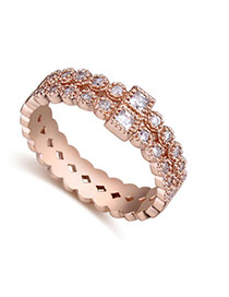 Fashion Rose Gold Square Shape Diamond Decorated Hollow Out Design Double Layer Ring