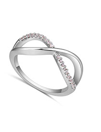 Fashion Silver Color Diamond Decorated Cross Shape Design Simple Ring