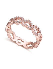 Fashion Rose Gold Heart Shape Decorated Hollow Out Design Simple Ring
