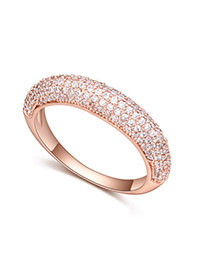 Fashion White+rose Gold Diamond Decorated Irregular Shape Design Ring