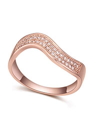 Fashion White+rose Gold Round Shape Diamond Decorated Curve Design Simple Ring