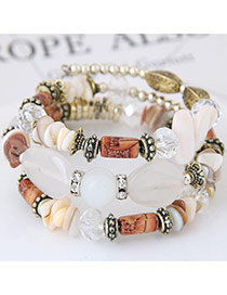 Trendy Beige Beads Decorated Color Matching Multi-layer Simple Bracelet
