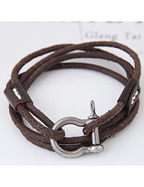 Fashion Gray Buckle Decorated Multi-layer Design Simple Leather Bracelet