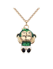 Fashion Multi-color Monkey Pendant Decorated Color Matching Simple Necklace