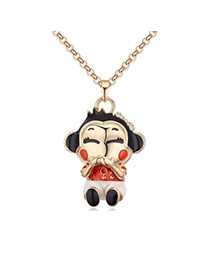 Fashion Red+champagne Monkey Pendant Decorated Color Matching Simple Necklace