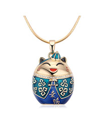 Fashion Champagne+blue Fortune Cat Pendant Decorated Color Matching Necklace