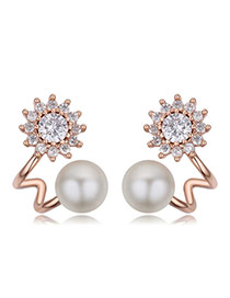 Fashion Rose Gold Diamond&pearls Decorated Flower Shape Earrings
