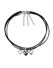 Fashion Black Heart Pendant Decorated Multi-layer Design Necklace
