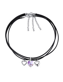 Fashion Purple Heart Pendant Decorated Multi-layer Design Necklace