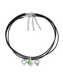 Fashion Green Heart Pendant Decorated Multi-layer Design Necklace