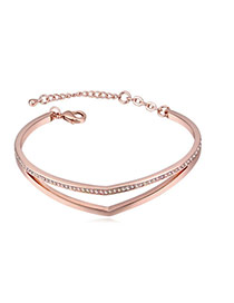Fashion Rose Gold+pink Round Shape Diamond Decorated Hollow Out Design Bracelet