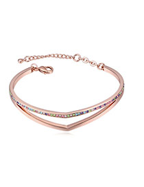 Fashion Multi-color Round Shape Diamond Decorated Hollow Out Design Bracelet
