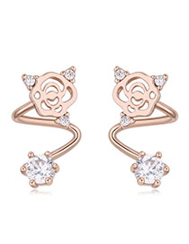 Fashion Rose Gold Diamond Decorated Hollow Out Flower Shape Simple Earrings