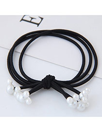 Fashion Black Pearls Pendant Decorated Knot Design Simple Hair Band