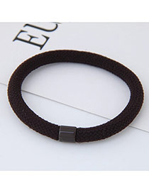 Fashion Coffee Round Shape Decorated Pure Color Simple Hair Band