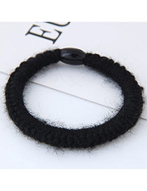 Fashion Black Pure Color Decorated Hand-woven Woolen Yarm Hair Band