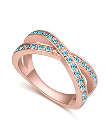 Fashion Rose Gold+blue Round Shape Diamond Decorated Cross Design Simple Ring