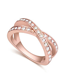 Fashion Rose Gold+white Round Shape Diamond Decorated Cross Design Simple Ring