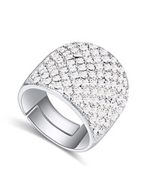 Fashion White Big Round Diamond Decorated Color Matching Design Ring