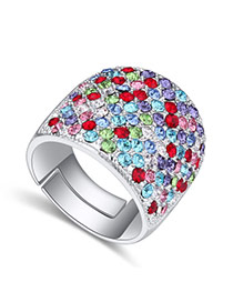 Fashion Multi-color Big Round Diamond Decorated Color Matching Design Ring