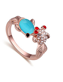 Fashion Rose Gold+blue Oval Shape Diamond Decorated Goldfish Shape Design Ring
