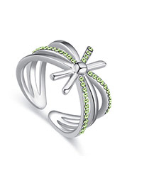 Fashion Green Diamond Decorated Hollow Out Design Simple Ring