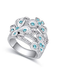 Fashion Sea Blue Flower Decorated Hollow Out Design Simple Ring