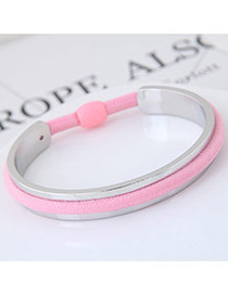Elegant Pink Color Matching Decorated Rubber Band Design Opening Bracelet