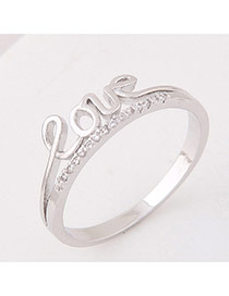 Elegant Silver Color Letter Love&diamond Decorated Pure Color Simple Ring