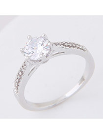 Elegant Silver Color Big Round Shape Diamond Decorated Pure Color Ring