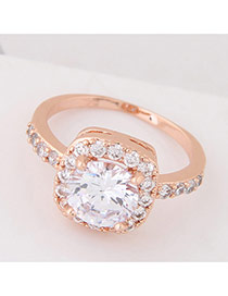 Elegant Rose Gold Big Square Shape Diamond Decorated Simple Ring