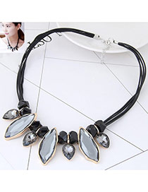 Fashion Gray Oval Shape Diamond Decorated Multi-layer Necklace