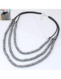 Fashion Gun Black Color Matching Decorated Multi-layer Design Necklace