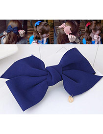 Fashion Sapphire Blue Bowknot Decorated Pure Color Design Hair Claw